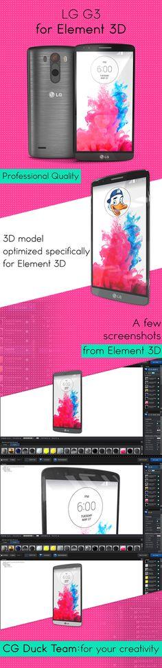 3D of LG G3 phone for Video Copilot's Element 3D #aeftereffects #motiondesign #motiongraphics #design #cinema4d #c4d