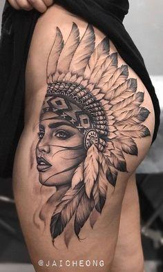 beautiful hip tattoo ideas © tattoo artist • Jai Cheong | Gold Coast, Australia • @jaicheong ♡💎♡💎♡💎♡💎♡ #hiptattoo #cooltattoos #womentattoos #awesometats Indian Women Tattoo, Indian Girl Tattoos, Indian Tattoo Design, Hip Tattoo Designs, Feather Tattoos, Hand Tattoos, Sleeve Tattoos, Native American Tattoos, Native Tattoos