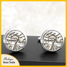 Rochester NY Antique Circa 1900's Map Cufflinks Handmade City Cuff Links State of New York - Groom cufflinks and tie clips (*Amazon Partner-Link)