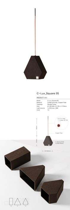 Coffee grounds upcycle product / This C-Lux_Square_05 is made locally using recycled 60 cups coffee grounds / Pendant lamp