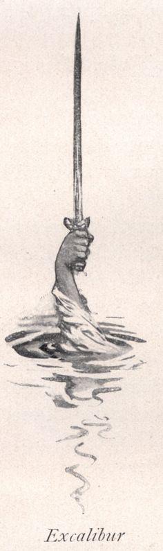 Excalibur: for tattoo the hand reaching out of the skin the the sword Lake Tattoo, 4 Tattoo, Body Art Tattoos, Cool Tattoos, Rei Arthur, King Arthur, Excalibur Tattoo, Merlin, Espada Tattoo