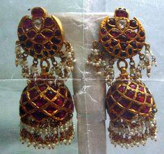 22 ct solid gold diamond polki earrings kundan meena work - 392-49 via Etsy