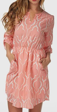 Pink & White Lattice Three-Quarter Sleeve Dress