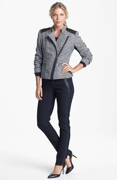 Love the jacket, leather tuxedo-trim leggings are pretty sweet, too... | Amber Sun Jacket & Tee, NYDJ Leather Trim Leggings | Nordstrom
