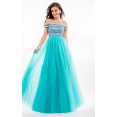 Rachel Allan 7129 Prom Long Dress Long  Sleeveless ($498) ❤ liked on Polyvore featuring dresses, gowns, formal dresses, tiffany blue, long blue dress, blue sequin dress, blue prom dresses and sequin gown