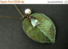 MOTHERS DAY SALE Leaf Necklace Charm Necklace in Green with Wire Wrapped Teardrop and Fresh Water Pearl. Handmade Jewelry. by TheTeardropShop from The Teardrop Shop. Find it now at http://ift.tt/1kdGdW9!
