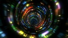 Seamless animation of flight inside glitch tunnel for music videos, night clubs, audiovisual show, events, performance.