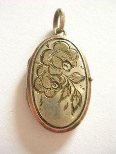 Charm+Bracelet+Exclusiver+seltener+alter+Anhänger+Silber+Gravur+Medaillon+Blumen