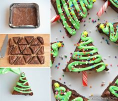 You'll love these Christmas Brownies Recipes and Ideas including Christmas Brownies in a jar, christmas tree brownies and more. Christmas Tree Brownies, Christmas Snacks, Christmas Cooking, Noel Christmas, Christmas Goodies, Simple Christmas, Christmas Parties, Christmas Tree Food, Xmas Food