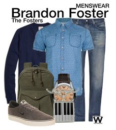 The Fosters by wearwhatyouwatch on Polyvore featuring Bellfield, Emporio Armani, AG Adriano Goldschmied, Brooks Brothers, Filson, NIKE, television, wearwhatyouwatch and menswear