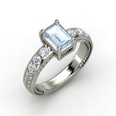 Emerald-Cut Aquamarine, Multi-stone, Prong Set Ring in 14K White Gold