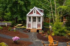 One of many tiny house located at The Mt Hood Tiny House Village in Welches, Oregon. Built by Tumbleweed Tiny House Company