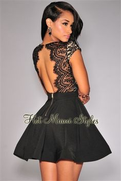 thecrossfit: >Black V-neck Lace Top Backless Cap Sleeve Skater Dress Top Dos Nu, Little Black Lace Dress, Dress Silhouette, Homecoming Dresses, Skater Dresses, Flare Dress, Dress To Impress, Designer Dresses, Outfits