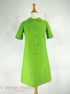 Vtg 1960s Mod Shift Dress in Bright Lime Green  by BeeDeeVintage, $30.00