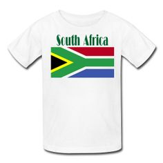 This South African Flag T-Shirt For Kids is on sale at PersonalizedSouvenirs.com. South African Flag, South African Design, Azerbaijan Flag, World Thinking Day, Flag Design, T Shirts For Women, Mens Tops, Kids, Bunting Design