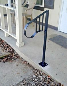 NEW Handrail Wrought Iron steps Steel Grab Rail Single Post Porch Stair Outside Stair Railing, Metal Deck Railing, Outdoor Stair Railing, Wrought Iron Stair Railing, Timber Deck, Hand Railing, Iron Railings, Porch Handrails, Front Porch Railings