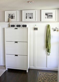 Shoe cabinet is the Stall from Ikea Board and Batten Entryway -- Ask Anna Furniture, Shoe Cabinet, Best Ikea, Entryway Cabinet, Cabinet, Shoe Cabinet Design, Ikea, Board And Batten, Ikea Shoe Cabinet
