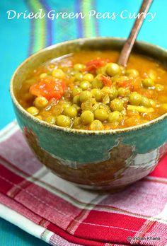 Dried green peas curry masala Peas Recipe Indian, Peas Masala Recipe, Dry Curry Recipe, Curry Recipes, Vegetarian Gravy, Vegetarian Recipes, Cooking Recipes, Chickpea Recipes, Vegetable Recipes