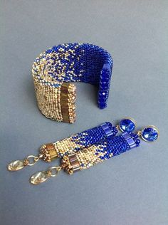 Beaded bracelet and earrings - rich blue colour, magnificent contrast to the beige one. Seed Bead Jewelry, Bead Jewellery, Bead Earrings, Beaded Jewelry, Jewelery, Handmade Jewelry, Beaded Bracelets, Earrings Handmade, Seed Beads