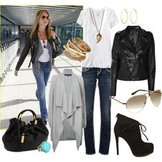 airport style inspired by Jennifer Aniston    I own everything but that sweater and that badass purse