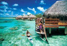 #Polynesia #Tuamotu #Islands. Fantastic Polynesian sea and typical overwater bungalows.