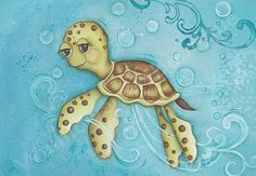 Sea Turtle, Children's Wall Art, Ocean Bathroom Decor, Nautical Nursery, Turtle Nursery, Children's Room Decor,
