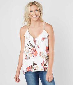 256580c2b432fb Miss Me Woven Floral Tank Top - Women s Tank Tops in Multi White