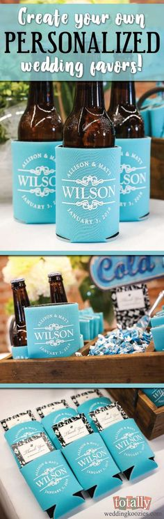 Personalized Wedding Favors. http://www.mydreamlines.com/2017/01/wedding-favors/ #koozies #weddingkoozies