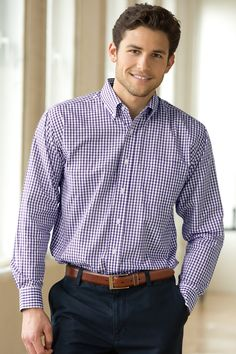 Easy Care Gingham Check Shirt Fairfield, OH Formal Shirts, Casual Shirts, Casual Outfits, Men Shirts, Clothing Logo, Mens Clothing Styles, Business Casual Men, Shirt Refashion, Gingham Check