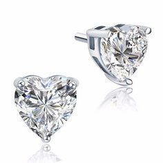 Peacock Star Bridal 4 Carat Heart Stud Bridesmaid Earrings 925 Sterling Silver Jewelry CFE8084