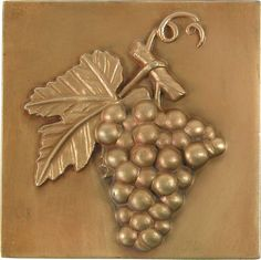Brass Elegans 27G-AB Grape Design Solid Metal 4-Inch X 4-Inch Accent Tile, Durable Antique Brass Finish *** Find out more details by clicking the image : Home Decorative Accessories