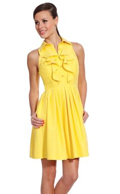 Fun yellow ruffle dress that we have in the store.