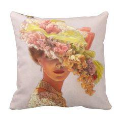 Elegant Art Decor Pillow floral hat Victorian lady  | Visit the Zazzle Site for More: http://www.zazzle.com/?rf=238228028496470081 [Referral Link]
