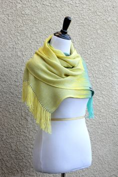 """Hand woven long scarf, #pashmina with gradually changing colors from yellow to green and blue.  Measures: L: 78"""" with 6"""" fringe on both ends W: 11""""  Care instructions: This ... #kgthreads #homespunsociety #ombré"""