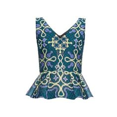 Peter Pilotto VH waffle-jacquard peplum top (6.480 ARS) ❤ liked on Polyvore featuring tops, green, peter pilotto, blue peplum top, print top, green peplum top and pattern tops