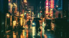 A rainy night in Tokyo.
