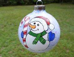 Hand Painted ornament snowman Ornament by ADragonflysFancy on Etsy
