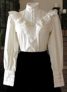 Frontier Classics Ruffled Blouse - White - Ladies' Old West Blouses Victorian Shirt, Victorian Fashion, Vintage Fashion, Vintage Dresses, Vintage Outfits, White Ruffle Blouse, Mode Vintage, Beautiful Outfits, Fashion Dresses