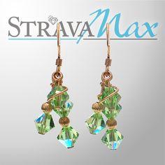 Peridot Green Array Earrings  green crystal earrings  by StravaMax