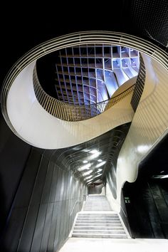 Staircase to parking from Metropol Parasol (Seville, Spain) by Jürgen Mayer H. Architects. All the construction has a fantastic, daring, creative and inventive sculpture-like repetitive geometric plan.