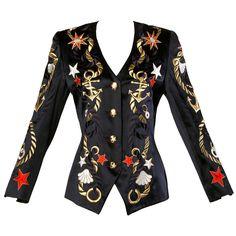 d4a1ff5eee98 Escada Vintage 1980s Nautical Embroidered Blazer Jacket