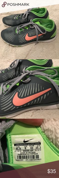 Nike Free 3.0 Grey, pink & lime green. Worn once or twice. Nike Shoes Athletic Shoes