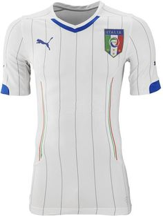Italy 2014 World Cup Home Kit Released and Away Kit leaked. The new Italy 2014 World Cup Jerseys are made by Puma. The Italy 2014 World Cup Away kit comes with blue pinstripes on a white shirt. Fifa 17, World Football, Football Kits, World Cup 2014, Fifa World Cup, Team T Shirts, Sports Shirts, Cristiano Ronaldo, Solo Soccer