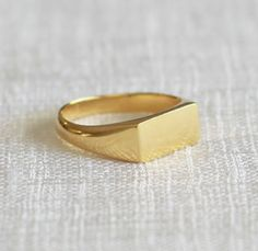 Gold signet ring signature ring rectangle door PieceofmineJewelry