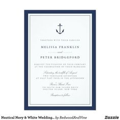 Nautical Navy Anchor Monogram Wedding Invitation designed by RedwoodAndVine. This invitation is available on 11 different card stocks. Nautical Wedding Invitations, Wedding Invitation Wording, Zazzle Invitations, Invitation Kits, Invitation Envelopes, Invitation Templates, Party Invitations, Invitation Design, Nautical Wedding