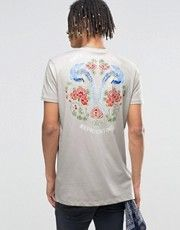 ASOS Longline T-Shirt With Japanese Style Floral Back Print