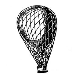 Vintage Clip Art - Transportation - Balloon, Airship, Aeroplane - The Graphics Fairy