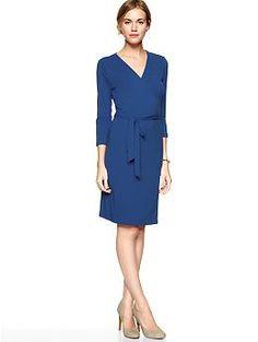 Solid Wrap Dress (Electric Blue). Gap. $54.95