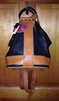 VALENTINA Leather Convertible Shoulder Bag Sling Backpack Made in Italy