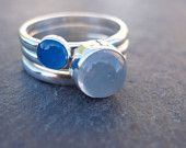 Moonstone and Blue Onyx Sterling Silver stacking ring set - Once in a Blue Moon, Scape on etsy